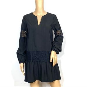 Abercrombie & Fitch Black Lace Mini Sleeves Dress